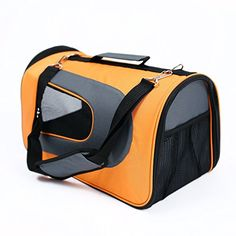 Petcomer 2016 New Designe Aviation Bag for Pet Airline Approved Pet Travel Carrier Wearable Knapsack for Outgoing ( orangegrey)