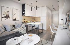 Smart layout for small condo. Small Apartment Interior, Small Apartment Design, Small Space Design, Home Room Design, House Design, Small Open Plan Kitchens, Studio Apartment Floor Plans, Small Appartment, Studio Interior
