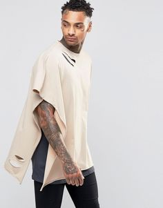 ASOS+Extreme+Oversized+Cape+T-Shirt+With+Distressing+And+Raw+Edge