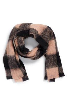 Loving this eyelash fringe cozy checkered scarf