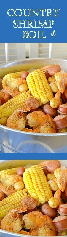 This bucket of Country Shrimp Boil is filled with all the ingredients for a GREAT beach party!  From the sausage, mini corn, potatoes to the large sweet juicy shrimp!