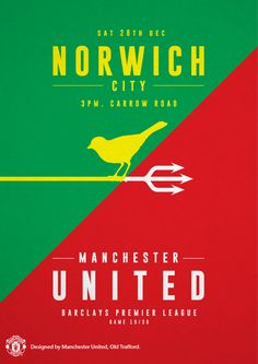 Match poster. Norwich City vs Manchester United, 28 December 2013. Designed by @manutd.