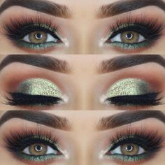 Shimmer Smokey Eyes Makeup Idea Explore natural and bold makeup ideas for dark green eyes. Pick the best eyeshadow color combos for your pretty emeralds. Best Eyeshadow, Eyeshadow Looks, Eyeshadow Makeup, Makeup Brushes, Eyeshadows, Neutral Eyeshadow, Pink Eyeshadow, Makeup Remover, Eyeshadow Palette