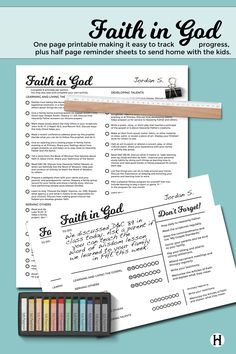 Faith in God printables for Primary 2015