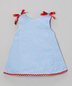 Blue & White Plaid Bow Swing Dress - Infant