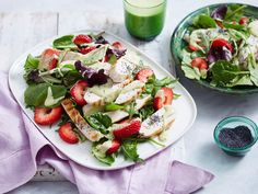 This lovely, light salad teams beautiful summer strawberries with fresh baby spinach and is finished with a tasty honey mustard and poppy seed dressing. It's the perfect recipe for a healthy lunch!