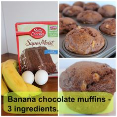 Banana chocolate muffins with only 3 Ingredients: Chocolate cake mix. Köstliche Desserts, Delicious Desserts, Dessert Recipes, Yummy Food, Chocolate Banana Muffins, Chocolate Cake Mixes, Chocolate Chocolate, Banana Bread, Cupcakes