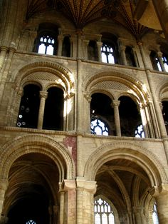Romanesque arches (Peterborough Cathedral, England - Founded in the Anglo-Saxon period, the architecture is mainly Norman, following a rebuilding in the 12th century.)