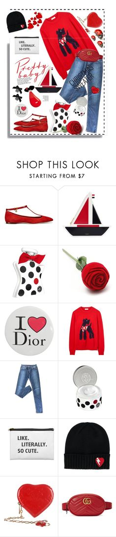 """""""Christmas sweaters"""" by ellenfischerbeauty ❤ liked on Polyvore featuring Tory Burch, Thom Browne, Bond No. 9, Pupa, Christian Dior, Prada, Yves Saint Laurent, Louis Vuitton, Gucci and Christmas"""