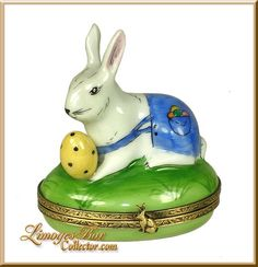 Egg Hunt Rabbit w Colored Eggs (Beauchamp) Limoges Box.