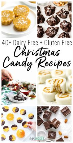 Get ready for the holidays with these gluten free and dairy free Christmas candy recipes! This roundup includes recipes that are nut free and soy free, too Dairy Free Christmas Recipes, Gluten Free Christmas Cookies, Dairy Free Cookies, Vegan Christmas, Dairy Free Recipes, Christmas Candy, Christmas Treats, Holiday Recipes, Dairy Free Fudge