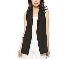e2f512506e3477 Caseminsto Women Fashion Elegant Office Lady Pocket Coat Sleeveless Vests  Jacket Outwear Casual Brand Black S