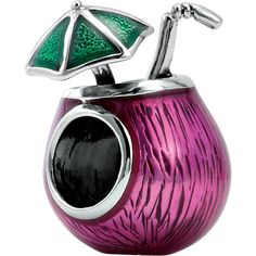 Sterling Silver Kera Enamel Tropical Drink Bead Charm 28483