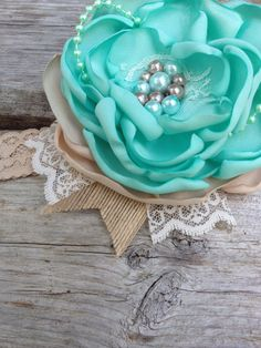 Mint and Taupe satin flower bow with vintage by LittleSparrowBows #littlesparrowbows #satinflowerbow #mintandburlap #mintandcream #mintandtaupe #vintagelace #mintbow #photoprop #lace