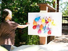 cuadro dardos globos pintura