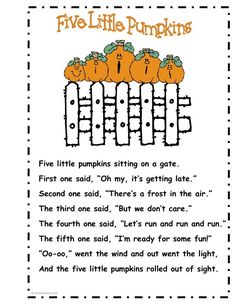 I sing this with the kids at my preschool  & they love it pumpkin poetry | Five Little Pumpkins Five Little Pumpkins, Small Pumpkins, Music And Movement, October Crafts, Halloween Pumpkins, Elementary Schools, Singing, Teaching Kids, Preschool