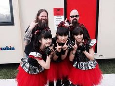 Here's them taking a selfie with Slayer. So yeah. They're a pretty big deal. | Meet Babymetal, The Totally Badass All-Girl Japanese Metal Band Of Your Dreams - BuzzFeed News