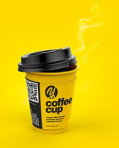 Coffee Cup With Sleeve Mockup in Bucket & Pail Mockups on Yellow Images Object Mockups Coffee Steam, Coffee Cafe, Coffee Shop, Coffee Company, Coffee Clutch, Paper Cup Design, Cafe Cup, Food Web Design, Street Coffee