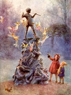 Margaret W. Tarrant English) Later postcard- Peter Pan Statue at Kensington Gardens. Fairy Land, Fairy Tales, Jm Barrie, Fairies Photos, Art Disney, Cicely Mary Barker, Flower Fairies, Fan Art, Children's Book Illustration