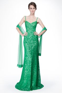 Embroidered Lace Banded Sweetheart Gown with Stole in Green Leaf - New Arrivals   Tadashi Shoji