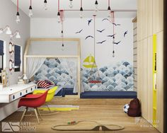 Детская комната, комната для мальчика, красивые обои, домик для ребенка