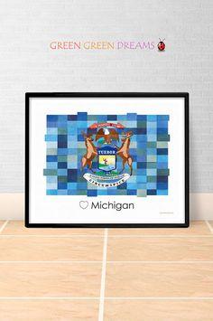 Michigan Flag Print Poster Wall art Michigan US State flags Michigan MI printable download Home Decor Digital Print gift GreenGreenDreams