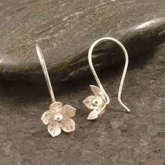 Silver Flower Earrings / Feminine Charm / Sterling Silver Hooks / Simple Silver Earrings  READY TO SHIP / Hooked on Flowers Wife Gift Girl by MetalRocks on Etsy https://www.etsy.com/listing/87375895/silver-flower-earrings-feminine-charm