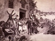 Dr. Jaime Ferrán Inoculating for Cholera in Spain, 1885. Image courtesy National Library of Medicine.