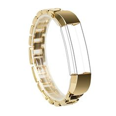 For Fitbit Alta Band Wearlizer Smart Watch Metal Wristband Replacement Strap Bracelet for Fitbit Alta  Gold *** Click image for more details.
