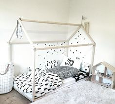 Montessori bed house is an amazing place for children where they can sleep and play. This adorable bed-house will make transitioning from a cot to a bed smoothly. Bed is designed following Montessori principles of independence – building, it saves you a lot of space in baby's room and you do not have to fear that your baby might roll out of the bed. Order includes bed frame, but does not include accessories in pictures and mattress. MATERIAL: Bed is made from pine wood and is not painted…