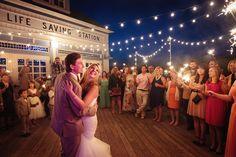 Sparkler First Dance for wedding at the Elberta Life Saving Station | Rayan Anastor Photography | Frankfort MI Wedding Photographer