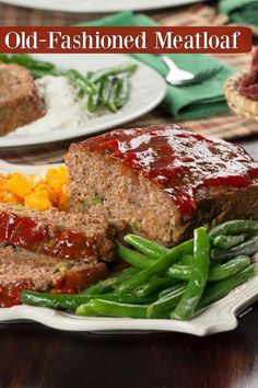 This is meatloaf, just the way you grew up eating it - ketchup and all!This is meatloaf, just the way you grew up eating it - ketchup and all! Meat Recipes, Dinner Recipes, Cooking Recipes, Water Recipes, Amish Recipes, Grilling Recipes, Beef Dishes, Food Dishes, Traditional Meatloaf Recipes