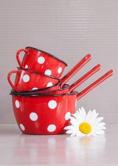 Polka dots enamelware set | Red polka dots set | French enamelware saucepans…