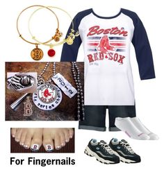 """""""Red Sox Nation plus size"""" by kolson-justme ❤ liked on Polyvore featuring Jessica Simpson, Skechers, Asics and Alex and Ani"""