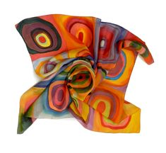 Rainbow silk scarf.Hand painted silk scarf. Rainbow colors scarf. Made to order.