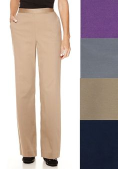 Alfred Dunner Womens Pants Classic Textured Solid Pull On Size 10 14 18
