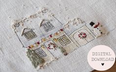 PDF only: The Stitchery Journal 2018 Christmas House Embroidery pattern — The Stitchery Freehand Machine Embroidery, Free Motion Embroidery, Simple Embroidery, Embroidery Hoop Art, Cross Stitch Embroidery, Embroidery Patterns, Christmas Fair Ideas, Sewing Crafts, Sewing Projects