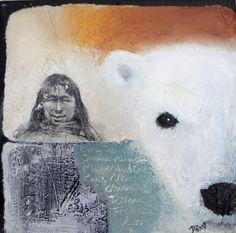 Polar bear hunter, collage/acrylics