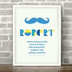 Personalised Moustache Boy Name & Birth Details, 8 x 10 inch Print