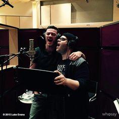 "Luke Evans twitted ""@joshgad and I recording! My what a guy!!! That's Gastoooooooooooooon!!!! #beautyandthebeast """