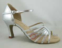 Natural Spin Basic Latin Shoes(Open Toe):  L1135-07_SilverSP