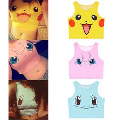 Top Pokemon Vest Camisole Sexy Clothes Girl's Cosplay Cute Pikachu Women Clothes #Unbranded