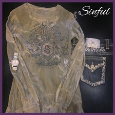 Sinful long sleeved thermal This is a very cool grayish green crushed watercolor thermal. Sinful brand purchased from Buckle. Awesome emblem on front with small jewels. Size medium. Sinful Tops Tees - Long Sleeve