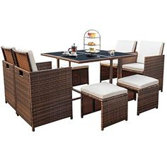 Devoko 9 Pieces Patio Dining Sets Outdoor Space Saving Rattan Chairs with Glass Table Patio Furniture Sets Cushioned Seating and Back Sectional Conversation Set (Brown) Cheap Patio Furniture, Outdoor Dining Furniture, Outdoor Dining Set, Patio Dining, Patio Table, Patio Chairs, Outdoor Living, Rattan Chairs, Wicker Sofa