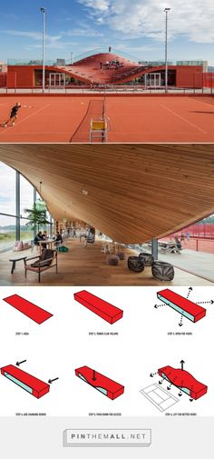 MVRDV's tennis clubhouse has a seating bowl on the roof. http://www.dezeen.com/2015/10/14/mvrdv-amsterdam-ijburg-tennis-clubhouse-the-couch-architecture/ - created via http://pinthemall.net
