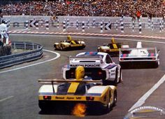 Two Martini Porsches sandwiched between three Alpine-Renaults, Le Mans 1977.