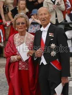 Countess Ruth and Count Flemming of Rosenborg; wedding of Princess Märtha Louise of Norway and mr. Ari Behn on May 24, 2002 in Trondheim