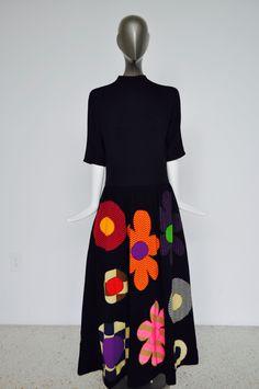 Rudi Gernreich black maxi dress with huge op art floral appliqués by vintagelemonde on Etsy