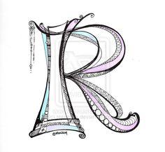 Lettering - R - Zentangle - Dangle - Monogram by rroxyann on deviantART