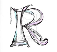 Lettering - R - Zentangle - Dangle - Monogram by rroxyann on deviantART